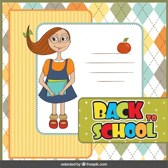 Back to school card with cute girl
