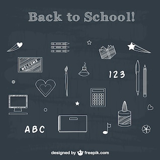 Back to school chalk drawing elements