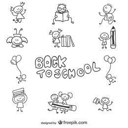 Back to school children doodle graphics