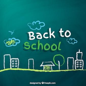 Back to school drawing on blackboard