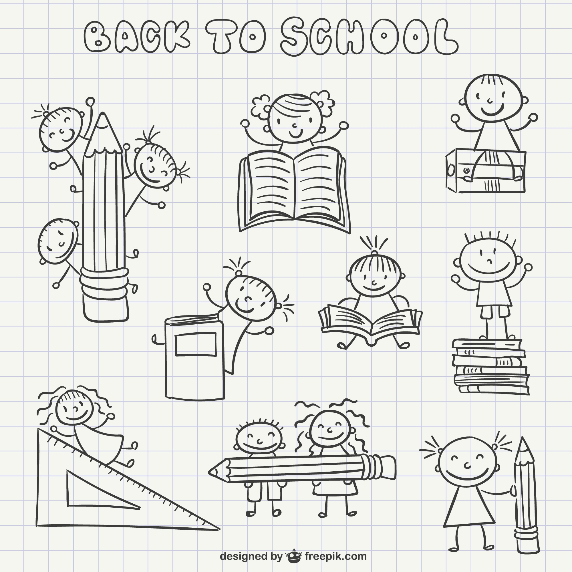 Back to school scribbles pack
