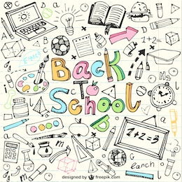 Back to school sketches in notebook