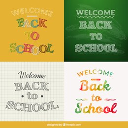 Back to school typographic labels