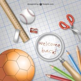 Back to school vector with school materials