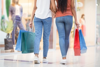 Back View of Two Black Girls in Shopping Mall