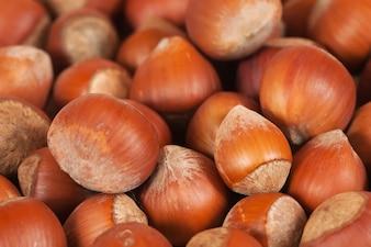 Background of brown hazelnuts