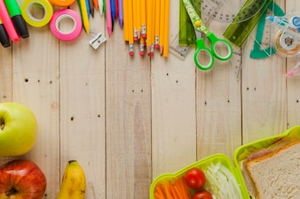 Background of school snack and supplies