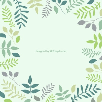 Background with leaves in green tones
