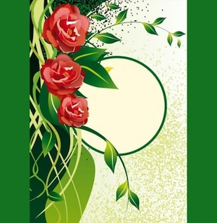 background with roses and green leaves