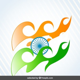 Background with waves in india flag colors