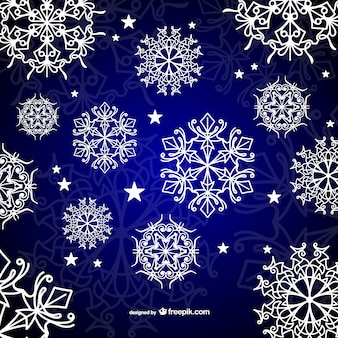 Background with white calligraphic snowflakes