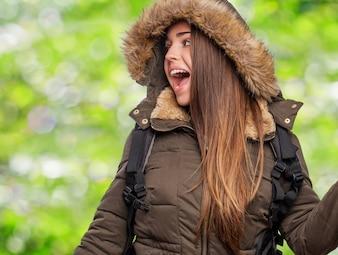 Backpacker light nature smile grass