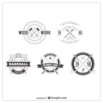 Badges collection in retro style