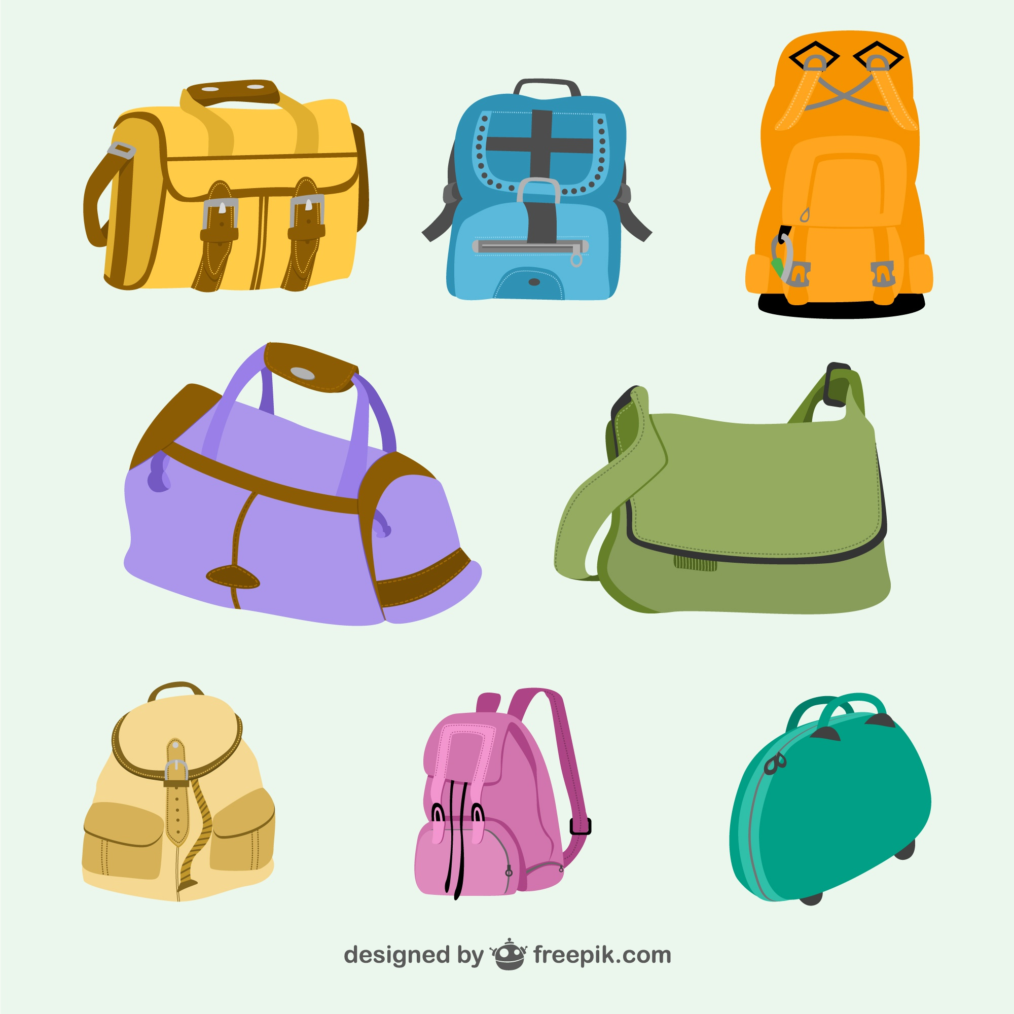 Bags and backpacks vector collection