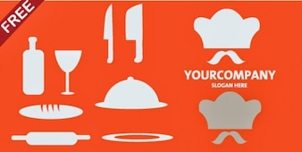 Bakery icons with logo vector pack