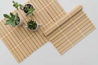 Bamboo table runner with plants