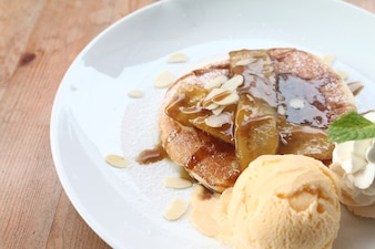 Banana pancake and ice cream