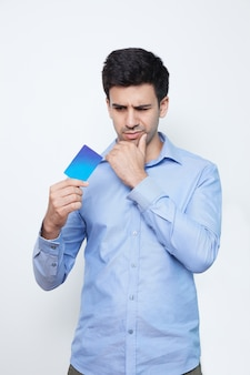 Banking holding male payment credit
