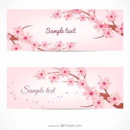 Banner template with cherry tree branches