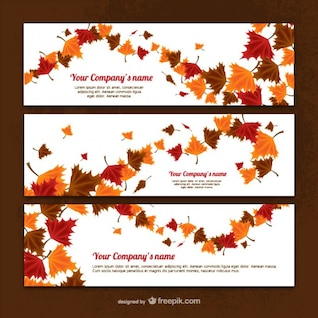 Banner templates with autumn leaves