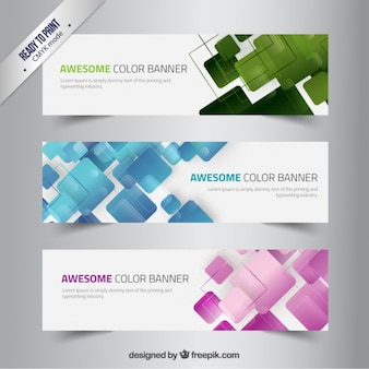 Banners with abstract squares
