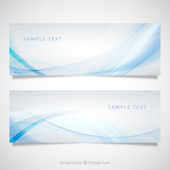 Banners with blue wave pattern