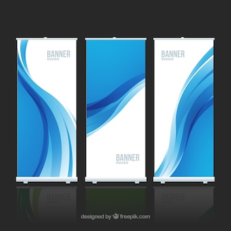 Banners with blue wave