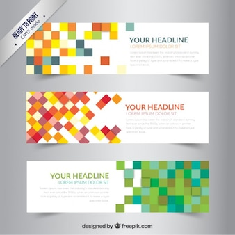 Banners with colorful pixels