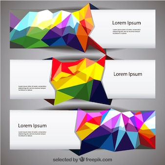 Banners with colorful polygons
