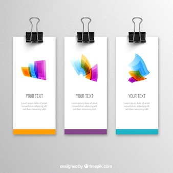 Banners with colorful shapes