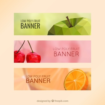 Banners with low poly fruits