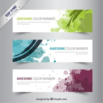 Banners with paints splashes