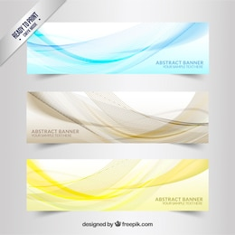 Banners with wavy lines pattern