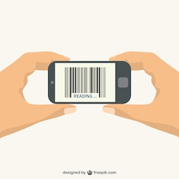 Bar code scan phone vector