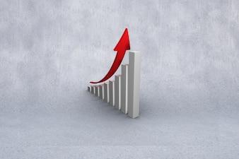 Bar graph with growth arrow