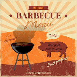 Barbecue free retro invitation