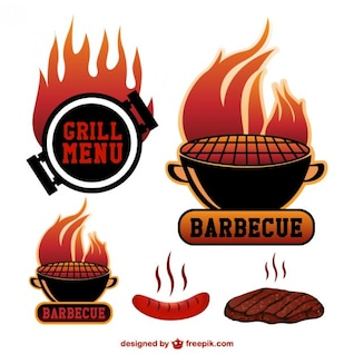 Barbecue grill vector symbols