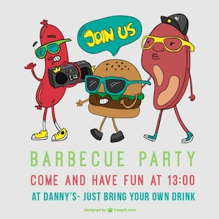 Barbecue party poster cartoon vector