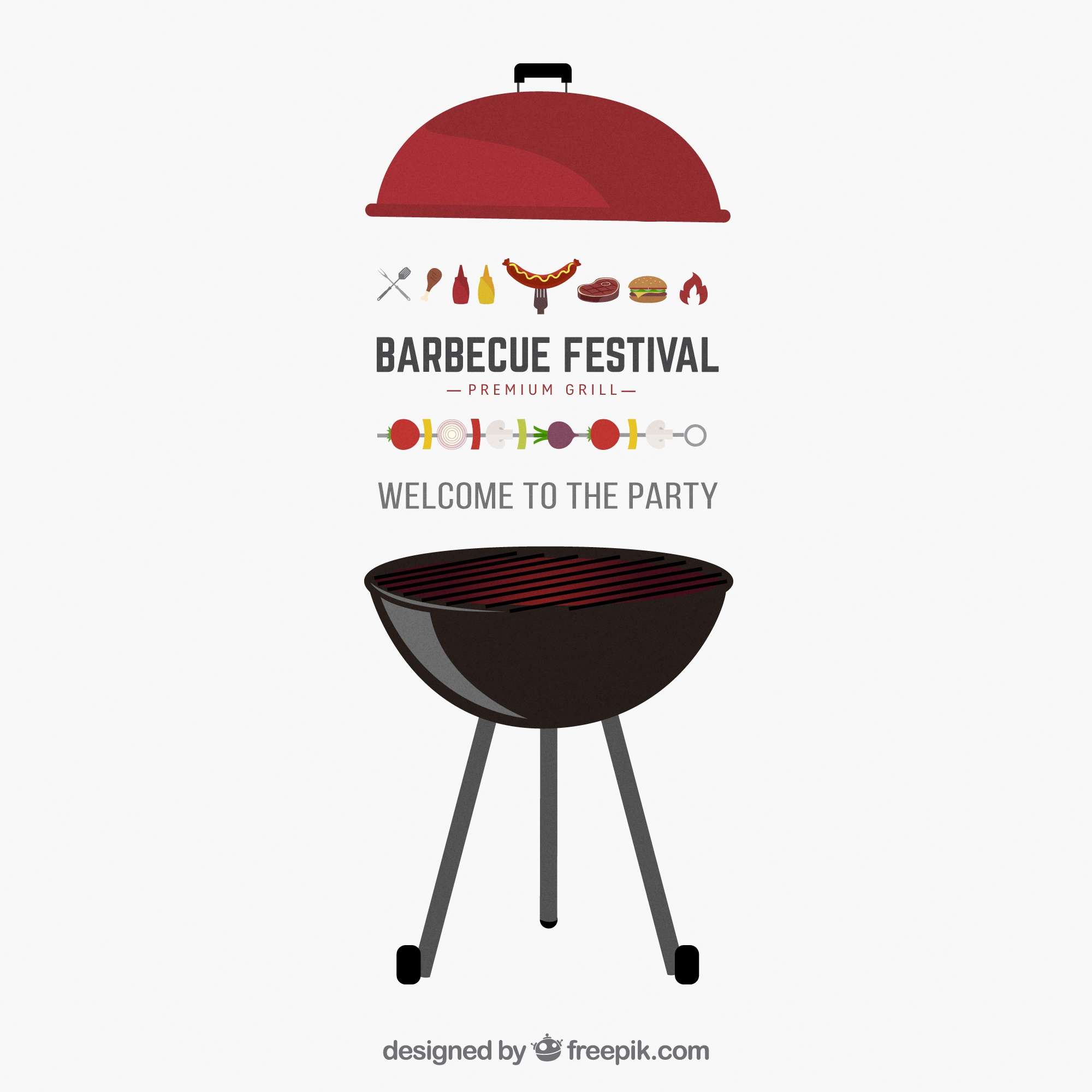 Barbecue party vector invitation