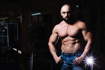 Bare-chestedman posing for camera