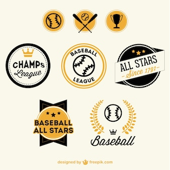 Baseball badges free set
