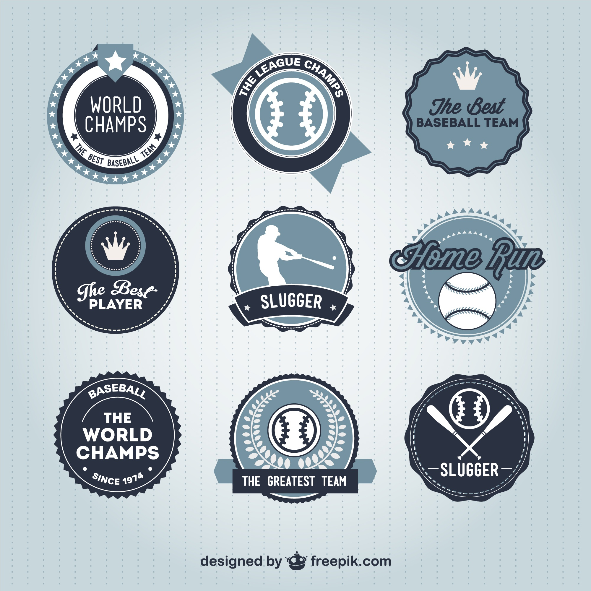 Baseball badges retro collection