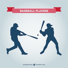 Baseball player vector silhouettes