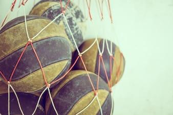 Basketball balls in a net