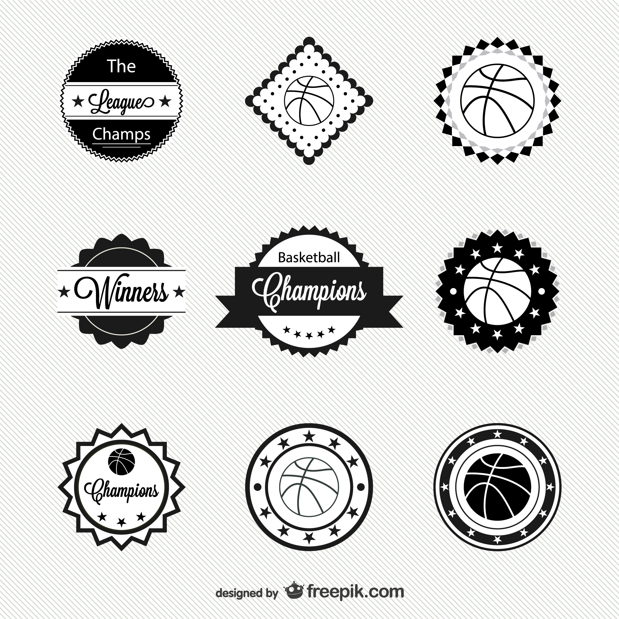Basketball free vector badges