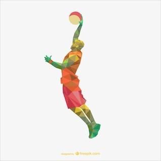 Basketball player polygon drawing