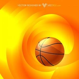 Basketball with shiny orange background