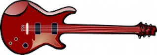 Bass guitar in red with gloss