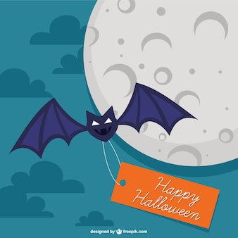 Bat with happy Halloween tag