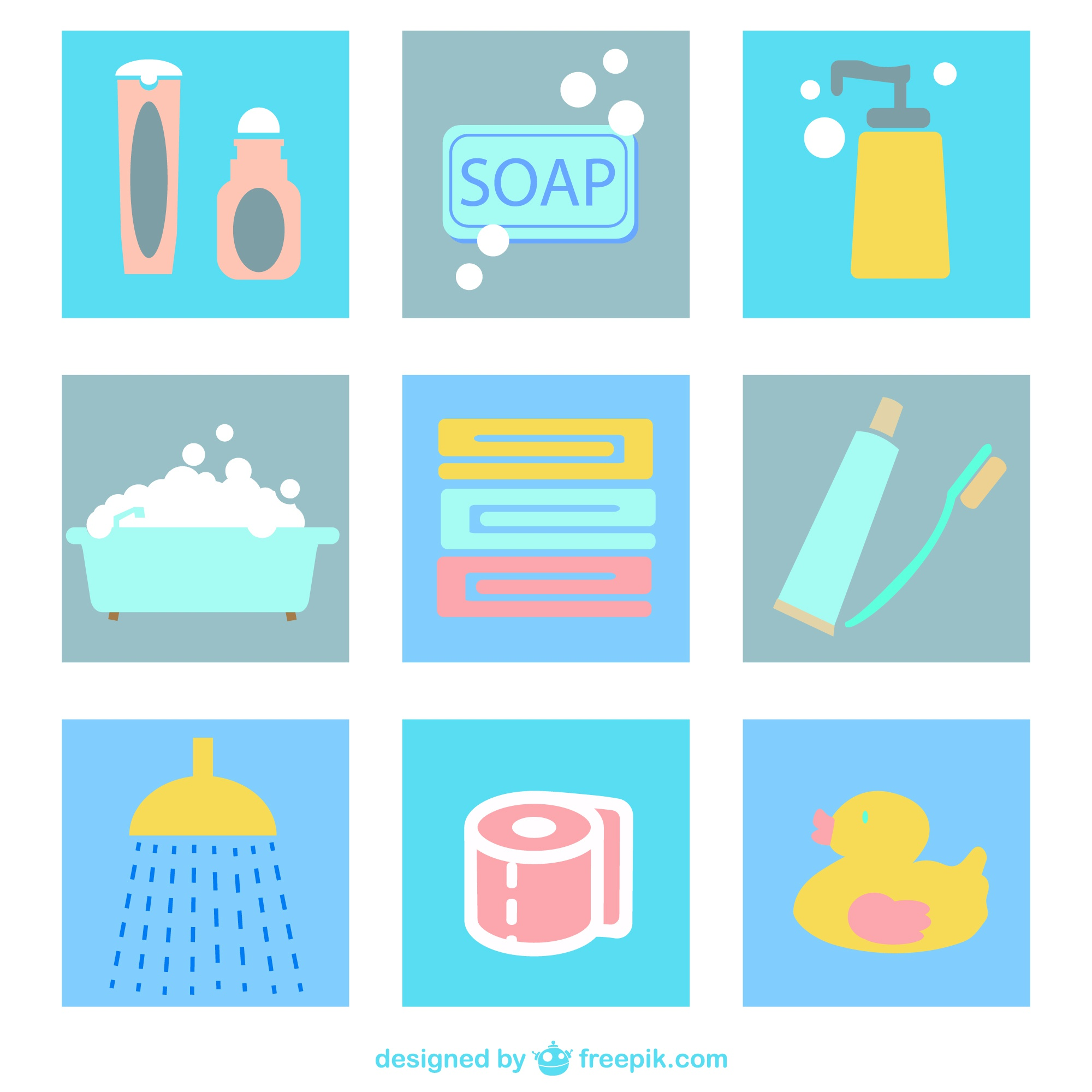 Bathroom flat icons pack